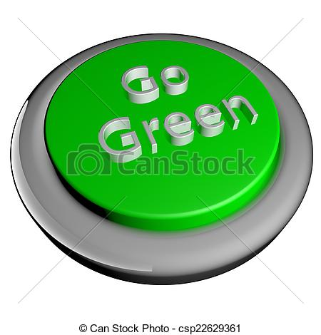 450x470 Go Green Button, Isolated Over White, 3d Render Stock Illustration