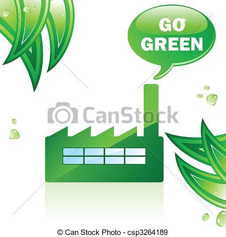 449x470 Go Green Glossy Factory. Editable Vector Image Eps Vectors