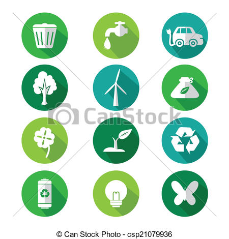 450x470 Go Green Icons. A Vector Illustration Of Go Green Icon Sets