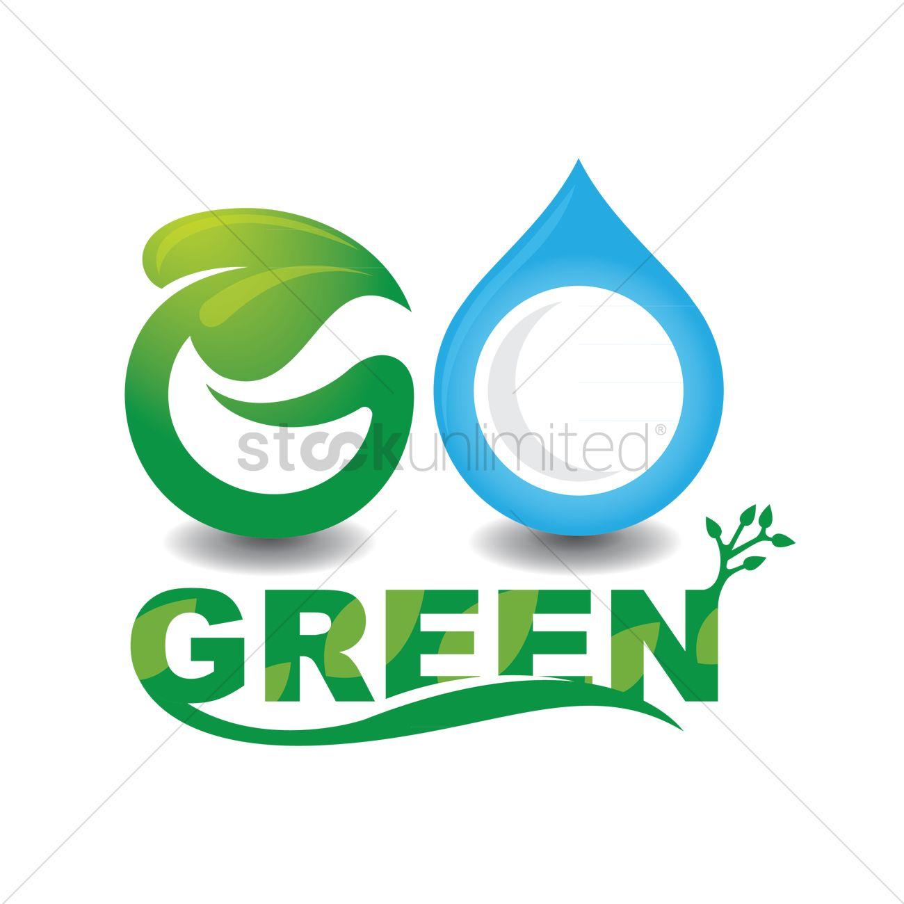 1300x1300 Go Green Lettering Design Vector Image