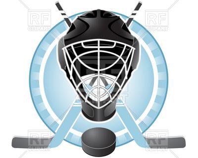 400x320 Emblem With Goaltender Helmet, Hockey Sticks And Puck Royalty Free