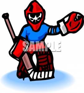 272x300 A Hockey Goalie Clipart Image