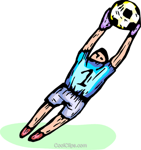 451x480 Soccer Goalie Catching A Soccer Ball Royalty Free Vector Clip Art