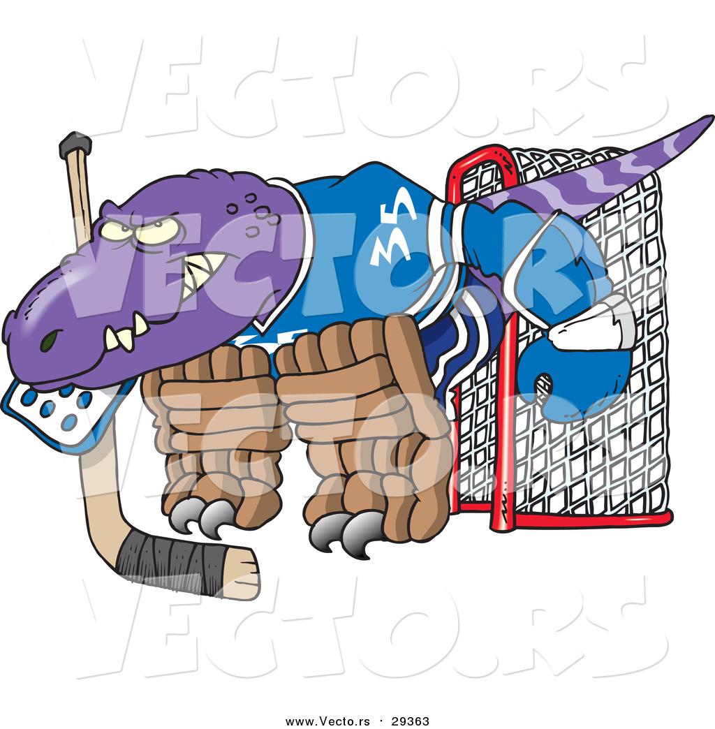 1024x1044 Vector Of A Cartoon Raptor Dino Goalie By Toonaday