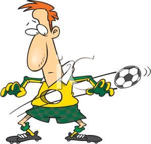 300x287 Clip Art Image A Soccer Ball Going Through A Man's Stomach