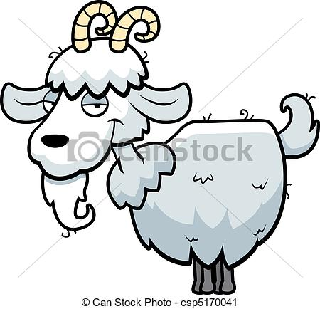 450x434 A Happy Cartoon Mountain Goat Standing And Smiling. Vector Clip