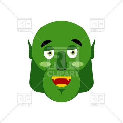 400x400 Ogre Happy Emoji. Goblin Merry Emotion. Royalty Free Vector Clip