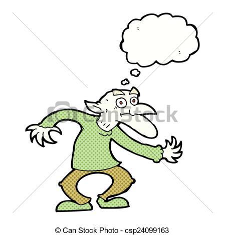 449x470 Cartoon Goblin With Thought Bubble Clip Art Vector