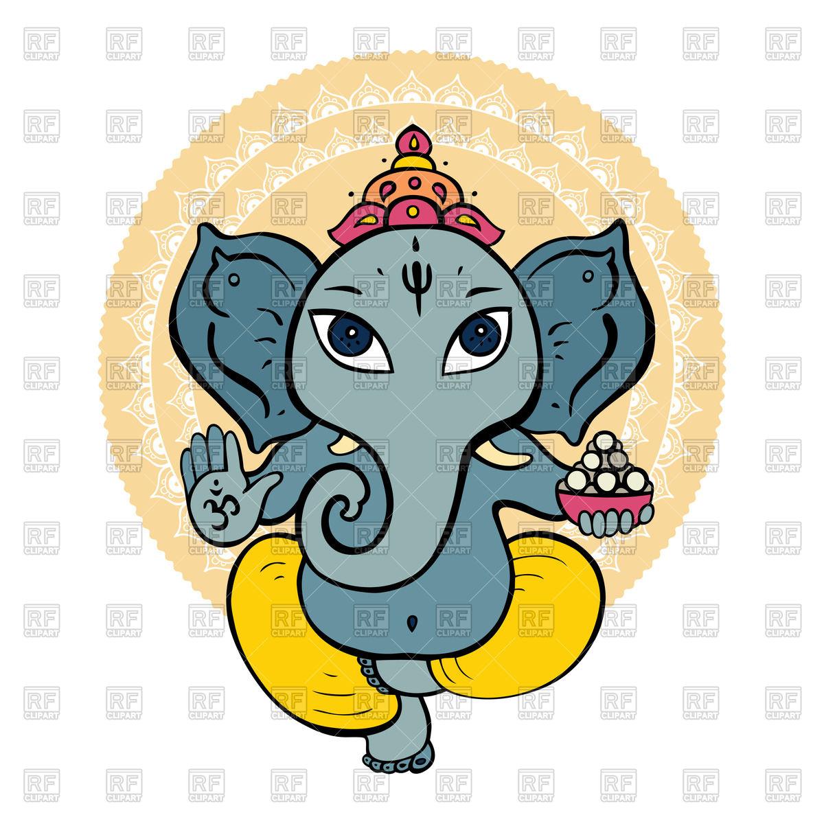 1200x1200 Hand Drawn Hindu God Ganesha Royalty Free Vector Clip Art Image