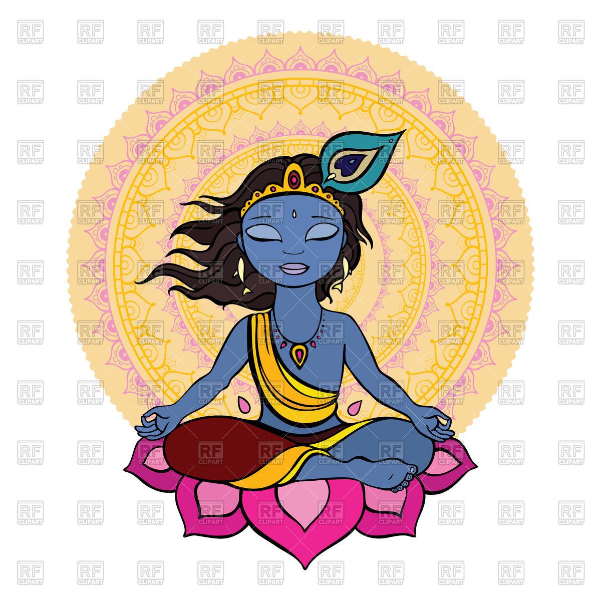 1200x1200 Hindu God Krishna Sits On Lotus Against Mandala Royalty Free