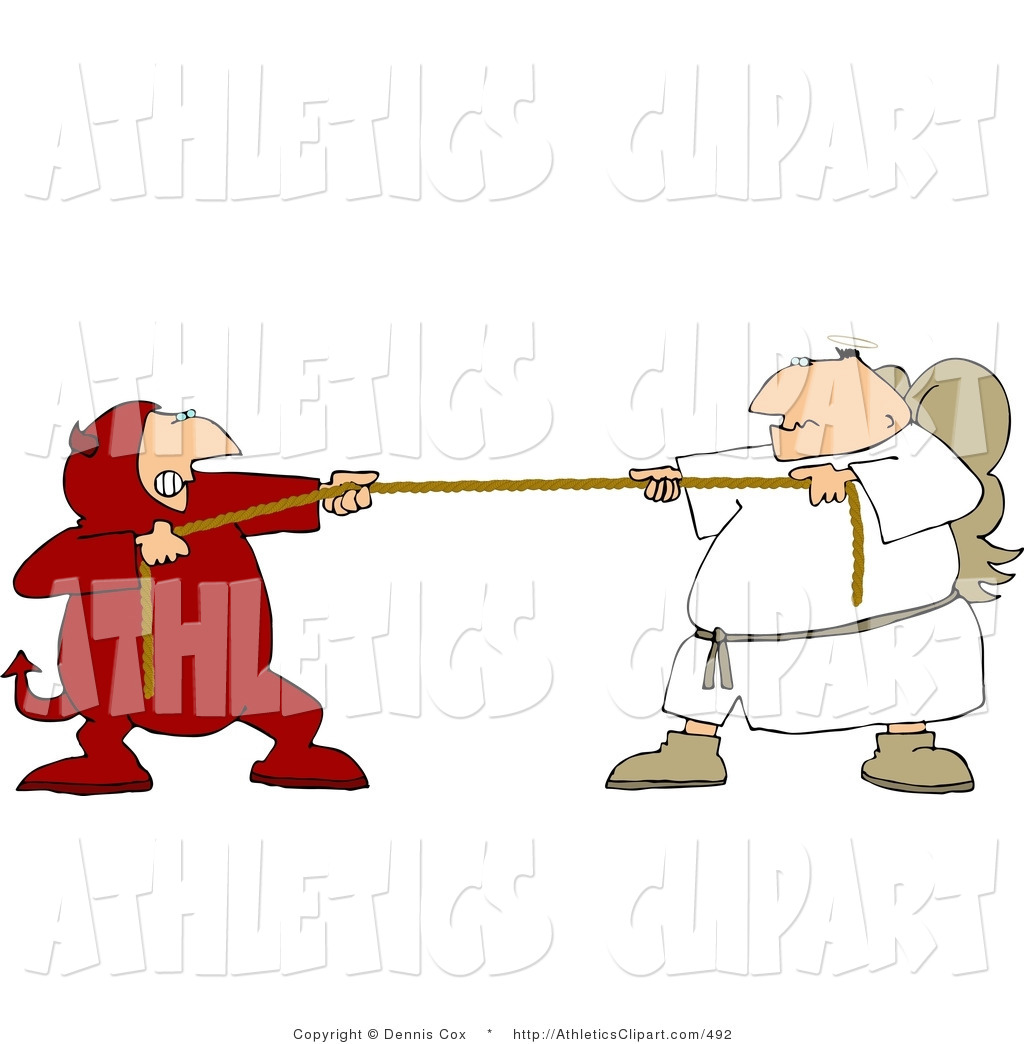 1024x1044 Clip Art Of A Conscience Tug Of War Battle Between Good And Evil