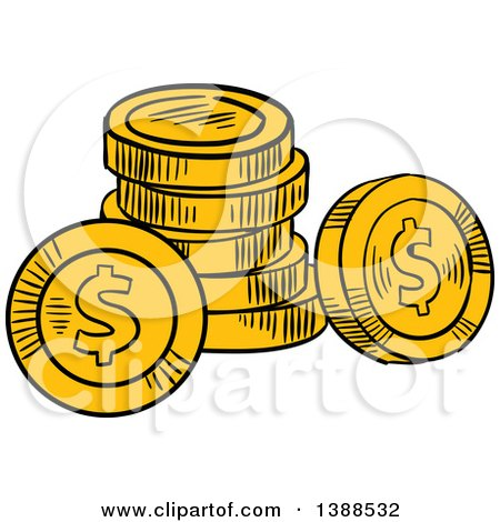 450x470 Clipart Of 3d Bronze Silver And Gold Coin Stacks