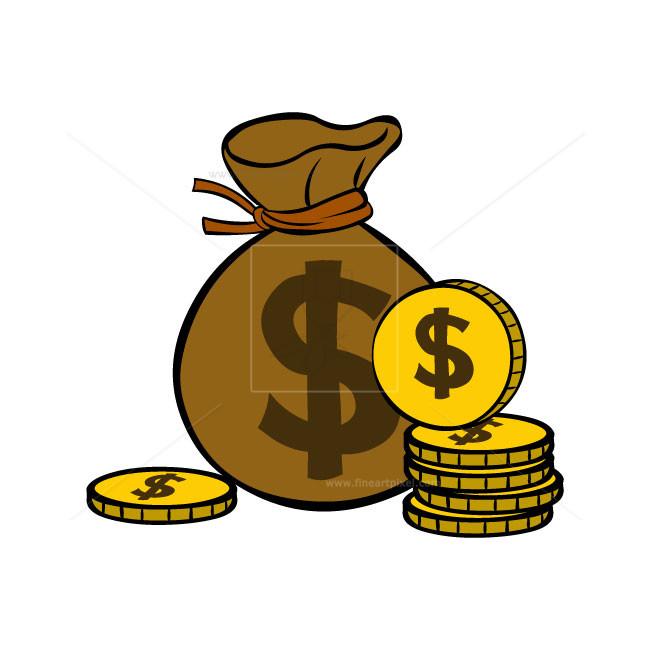 650x650 Dollar Bag And Gold Coins Free Vectors, Illustrations, Graphics
