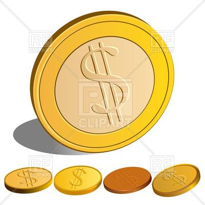 400x400 Dollar`s Coins Royalty Free Vector Clip Art Image