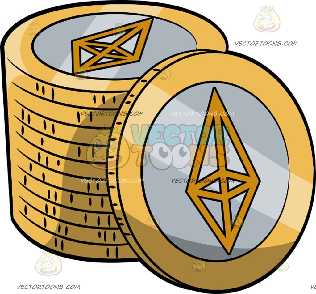 1024x951 A Stack Of Gold With Silver Ethereum Coins Cartoon Clipart