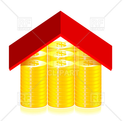 400x392 Red Roof On Gold Coins Royalty Free Vector Clip Art Image