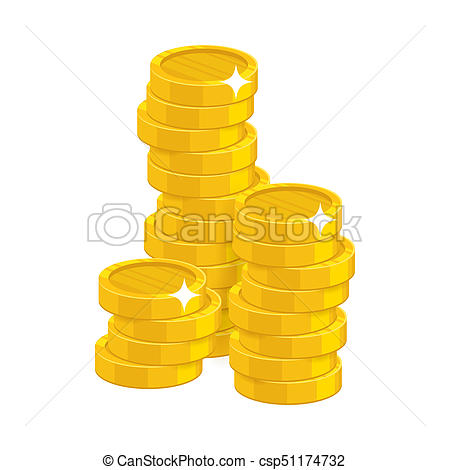 450x470 Stack Gold Coins Isolated Cartoon. Bunches Of Gold Coins