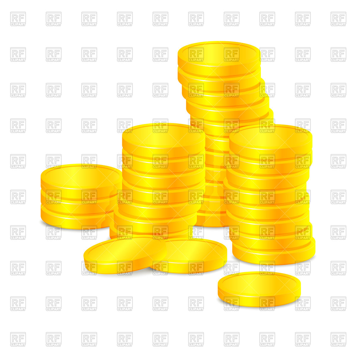1200x1200 Stacks Of Gold Coins Royalty Free Vector Clip Art Image