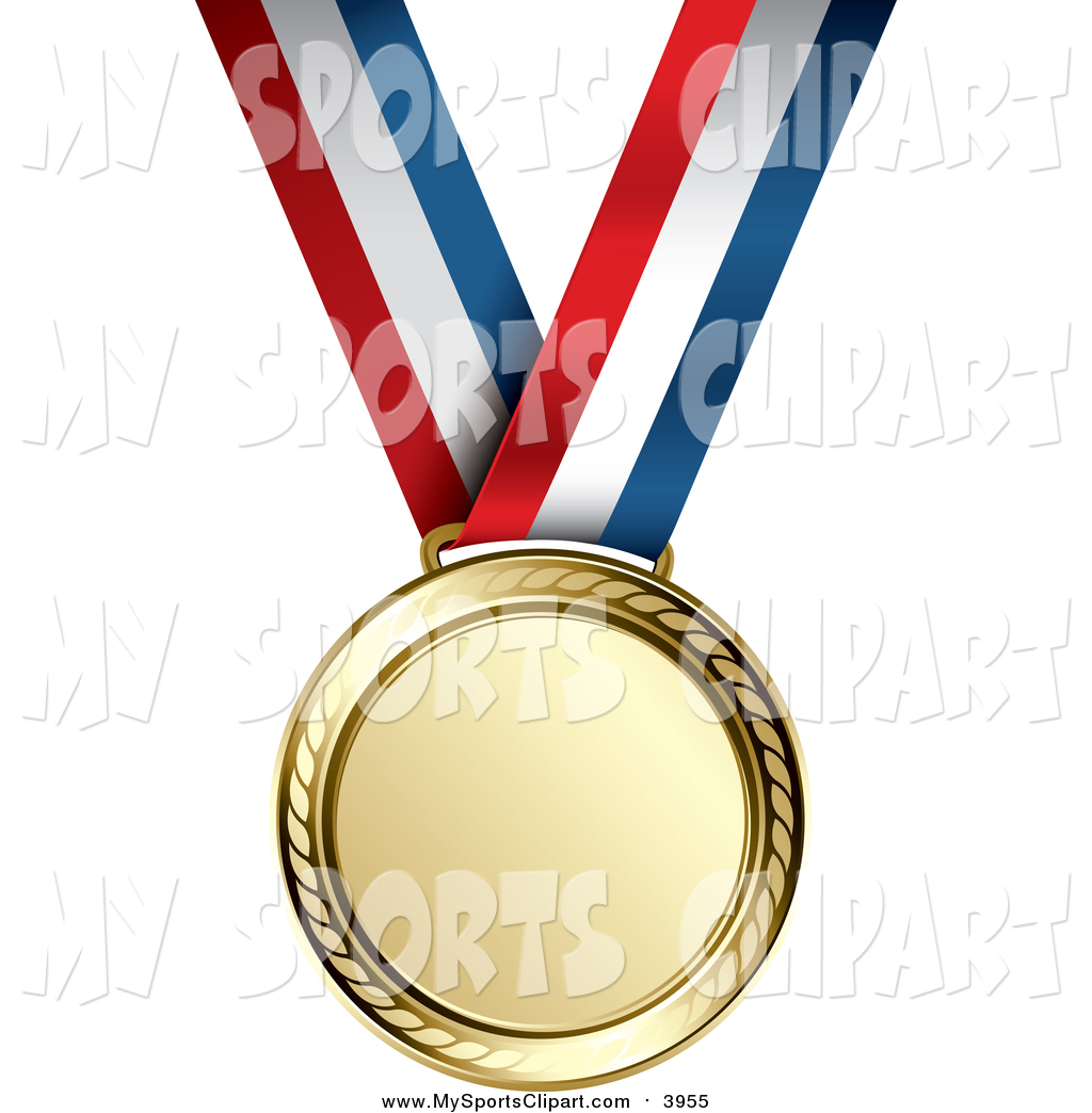1024x1044 Sports Clip Art Of A Gold Medal On A Red, White And Blue Ribbon By