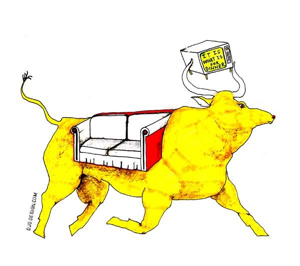 600x533 Golden Calf Couch (Aka It Is What Is For Dinner) Djg Drawing