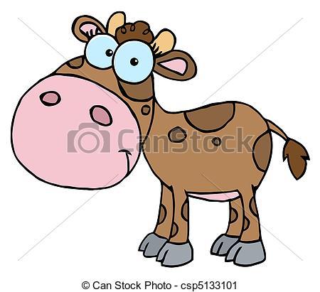 450x411 Brown Calf With Spots. Mascot Cartoon Character Cute Little