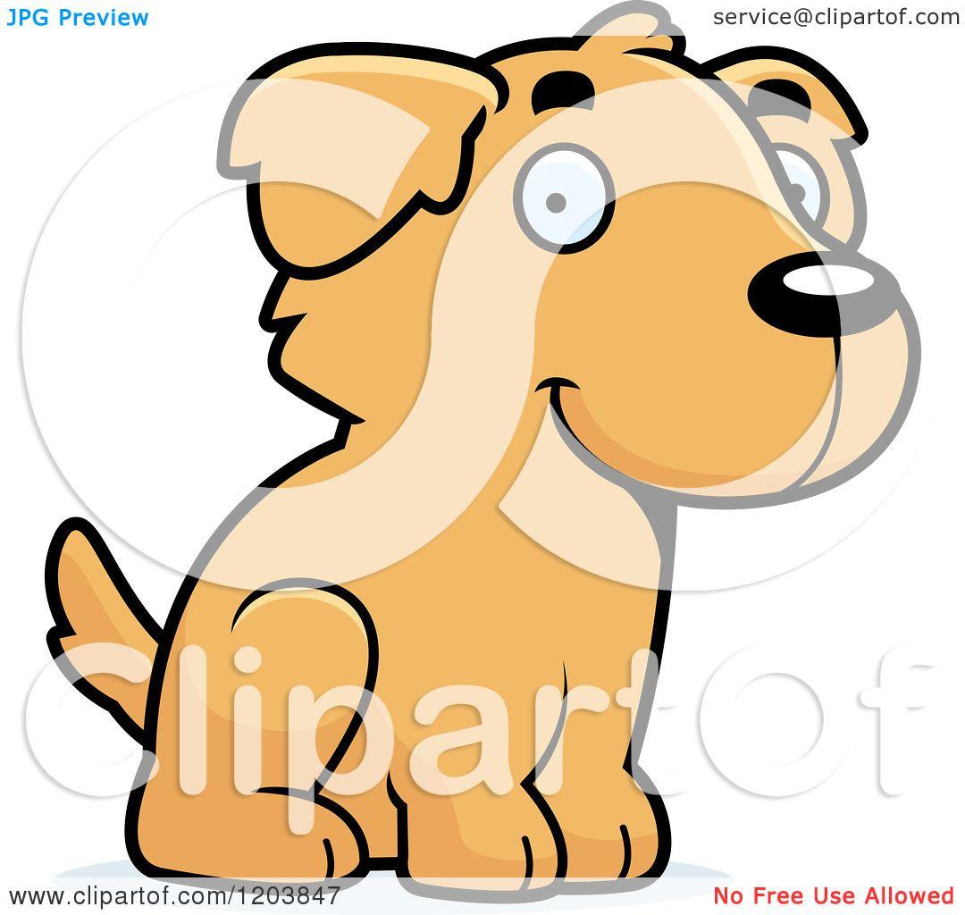 1080x1024 Cartoon Of A Cute Golden Retriever Puppy Sitting
