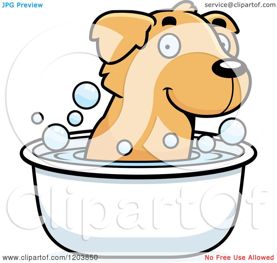 1080x1024 Cartoon Of A Cute Golden Retriever Puppy Taking A Bath