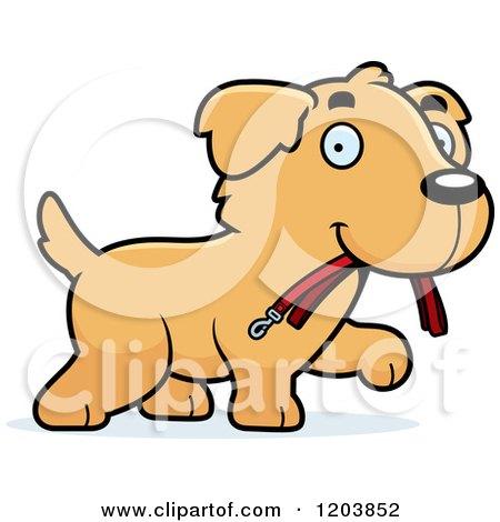 450x470 Cartoon Of A Cute Golden Retriever Puppy Walking