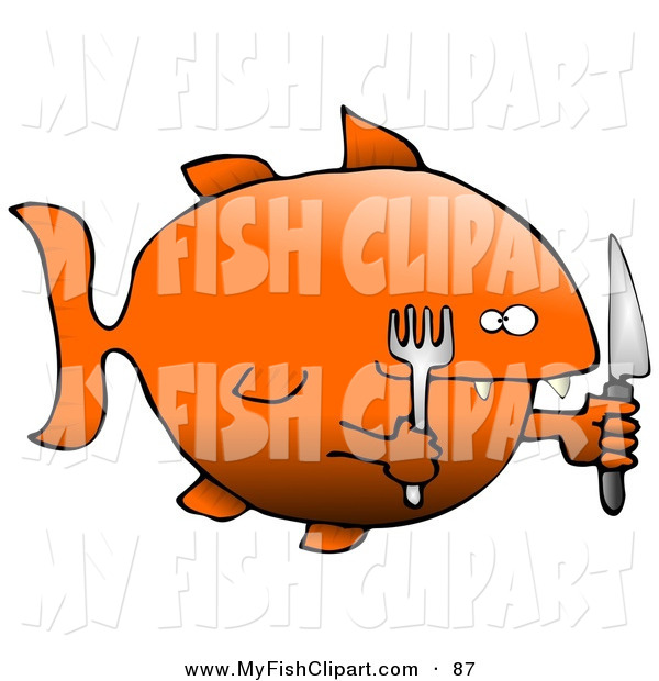 600x620 Clip Art Of A Starving Fat Goldfish Holding A Knife And Fork While