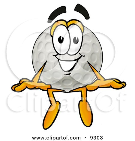450x470 Clipart Picture Of A Golf Ball Mascot Cartoon Character Sitting By