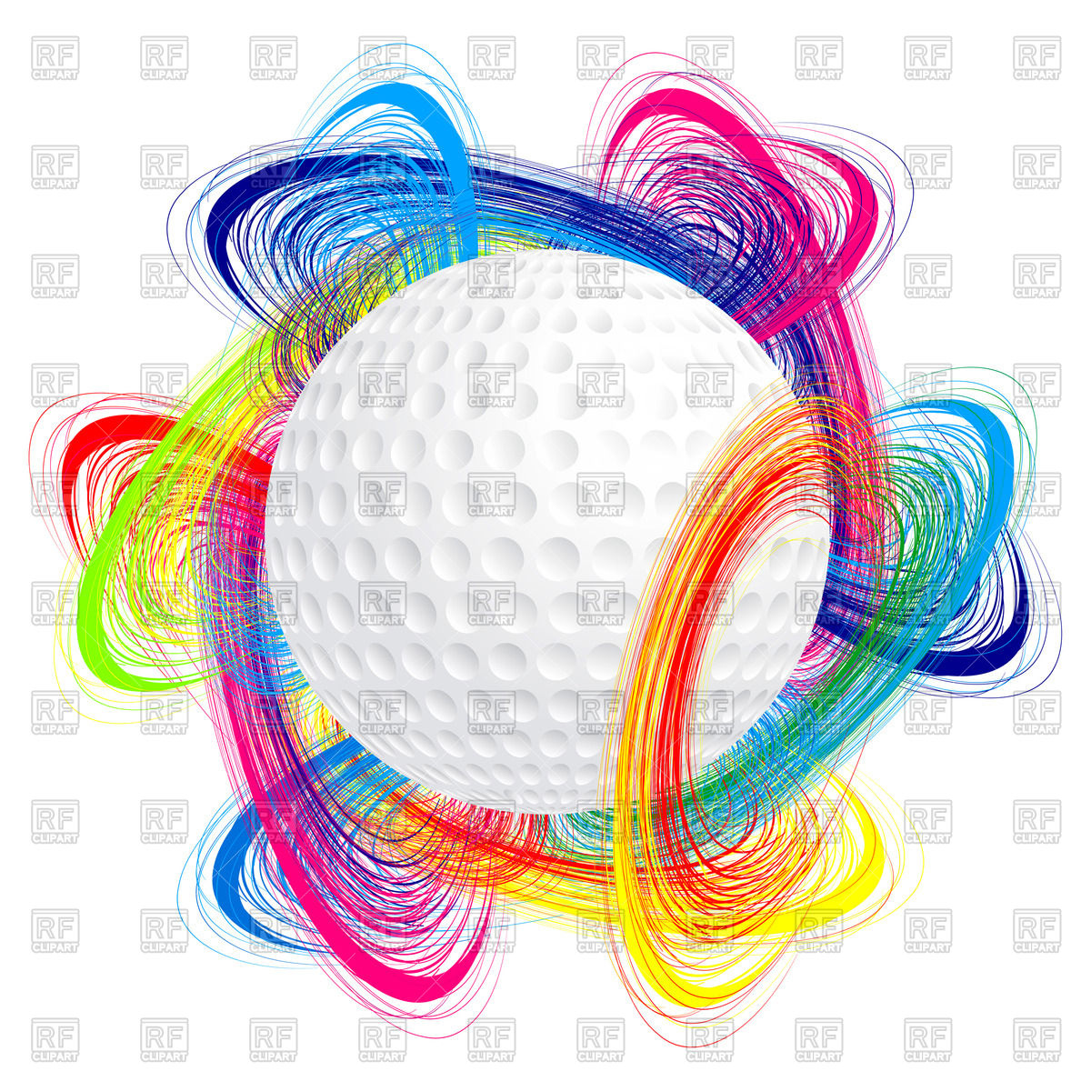1200x1200 Golf Ball With Colorful Waves Royalty Free Vector Clip Art Image