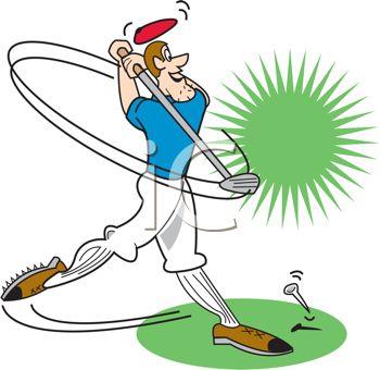 350x340 Cartoon Of A Guy Hitting A Golf Ball Off Tee