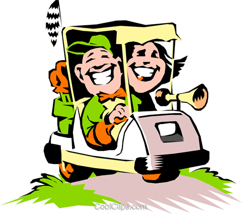 480x424 Golf Vector Clipart Of A Couple In A Cartoon Golf Cart Golf