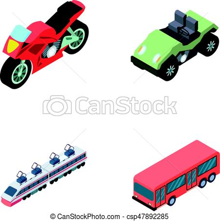 450x451 Motorcycle, Golf Cart, Train, Bus. Transport Set Collection