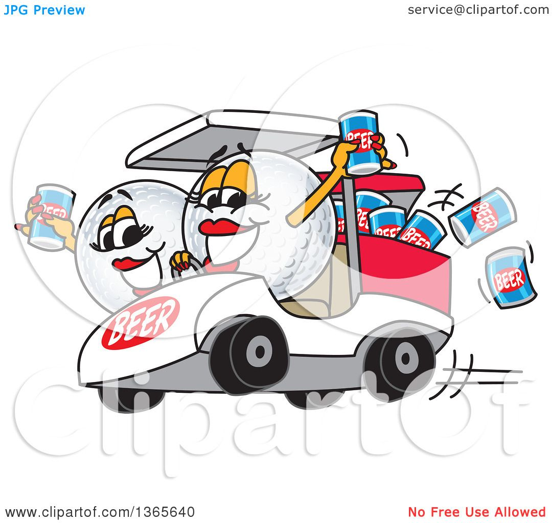 1080x1024 Clipart Of Golf Ball Sports Mascot Babes With Beer Cans In A Cart