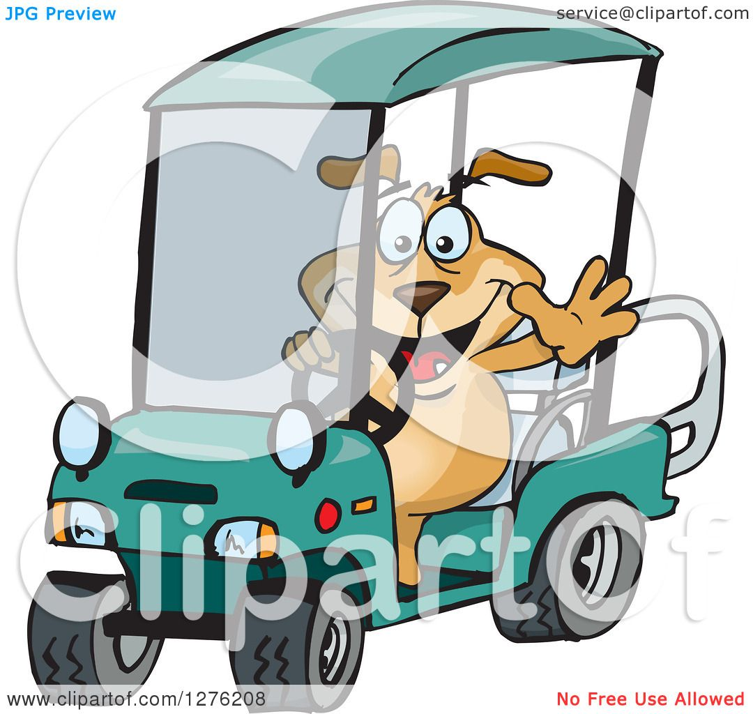 1080x1024 Clipart Of A Sparkey Dog Driving A Golf Cart And Waving