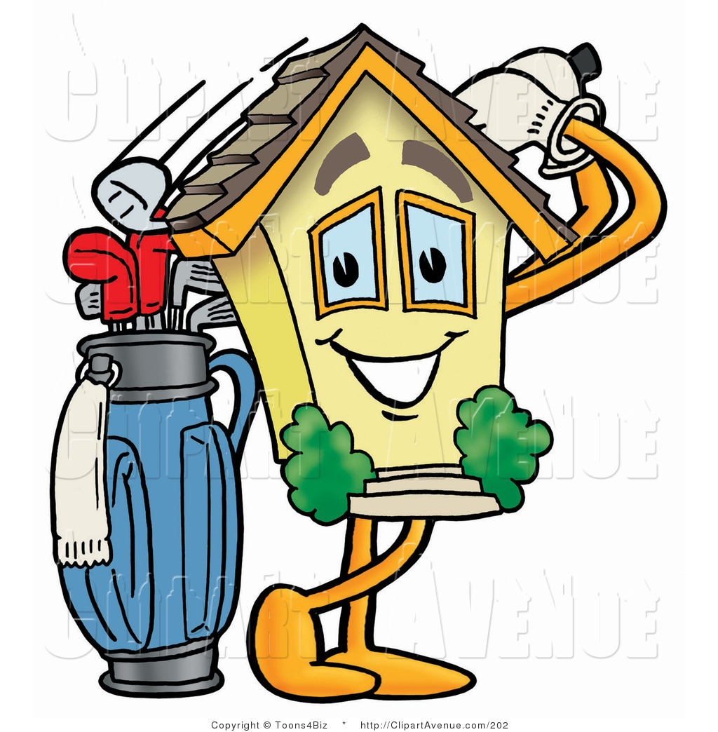 1024x1044 Avenue Clipart Of A Home Mascot Cartoon Character Swinging His