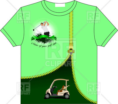 400x353 Golfer T Shirt With Golf Club Logo And Electric Car Under