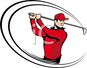 300x234 Clip Art Picture Of A Golfer Swinging A Golf Club