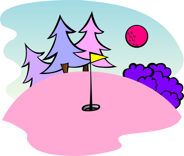 600x510 Pink Golf Course Scene Clip Art