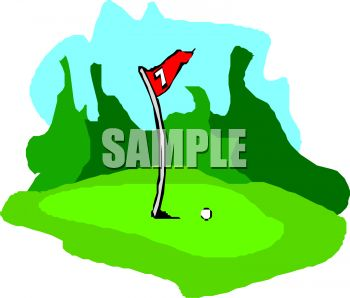350x298 Royalty Free Clipart Image 7th Hole On A Golf Course