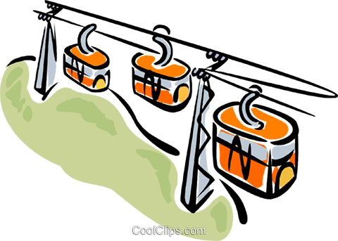 480x343 Gondola carrying skiers up the mountain Royalty Free Vector Clip