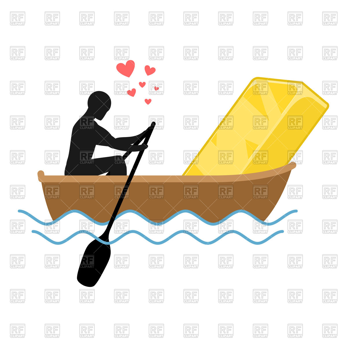 1200x1200 Man and Golden bullion in boat. Royalty Free Vector Clip Art Image
