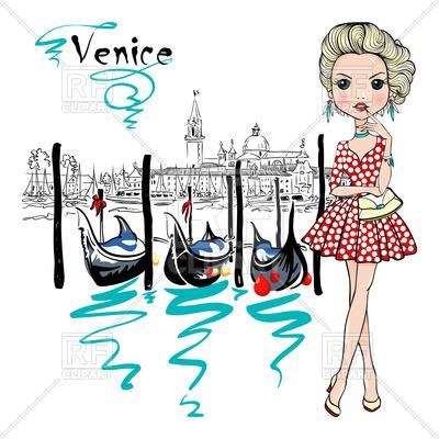 400x400 Cute Beautiful Fashion Girl In Polka Dot Dress, Venice, Italia