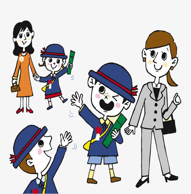 650x659 Children Cartoon Characters Waving Goodbye, Kindergarten, Bye Bye