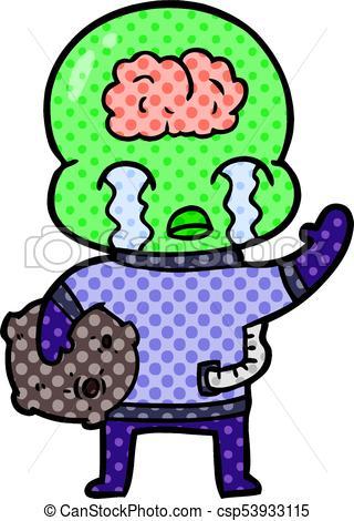 320x470 Cartoon Big Brain Alien Crying And Waving Goodbye Vector Clip Art