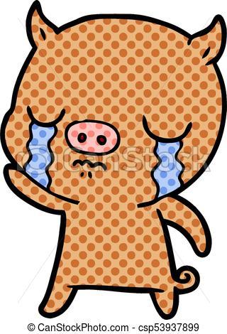 320x470 Cartoon Pig Crying Waving Goodbye Eps Vectors