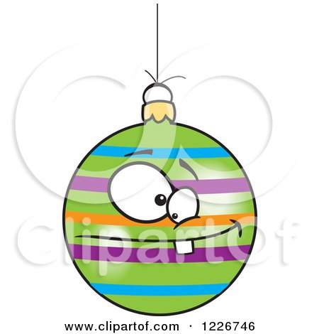450x470 Clipart Of A Black And White Cartoon Dotted Goofy Christmas Bauble
