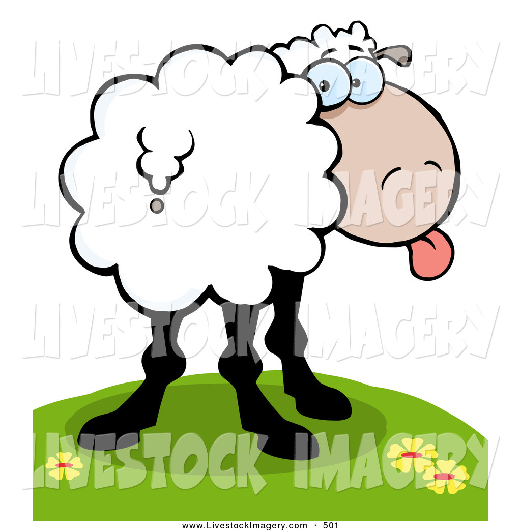 1024x1044 Clip Art Of A Goofy Sheep Standing On A Hill, Sticking Its Tongue