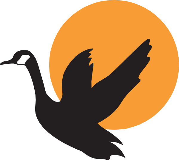 600x537 Goose With Sunset Background Clip Art